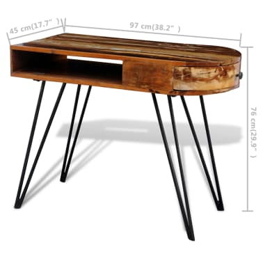 Reclaimed Solid Wood Desk with Iron Pin Legs[8/8]