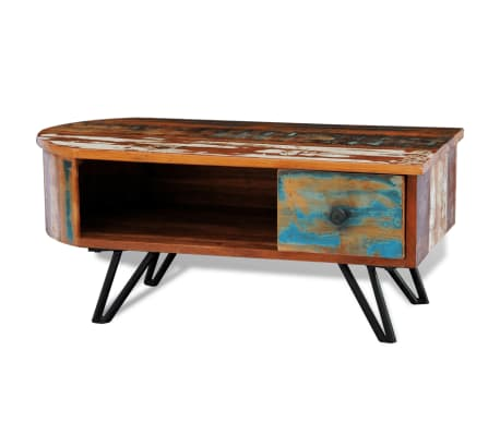 vidaXL Coffee Table with Iron Pin Legs Solid Reclaimed Wood
