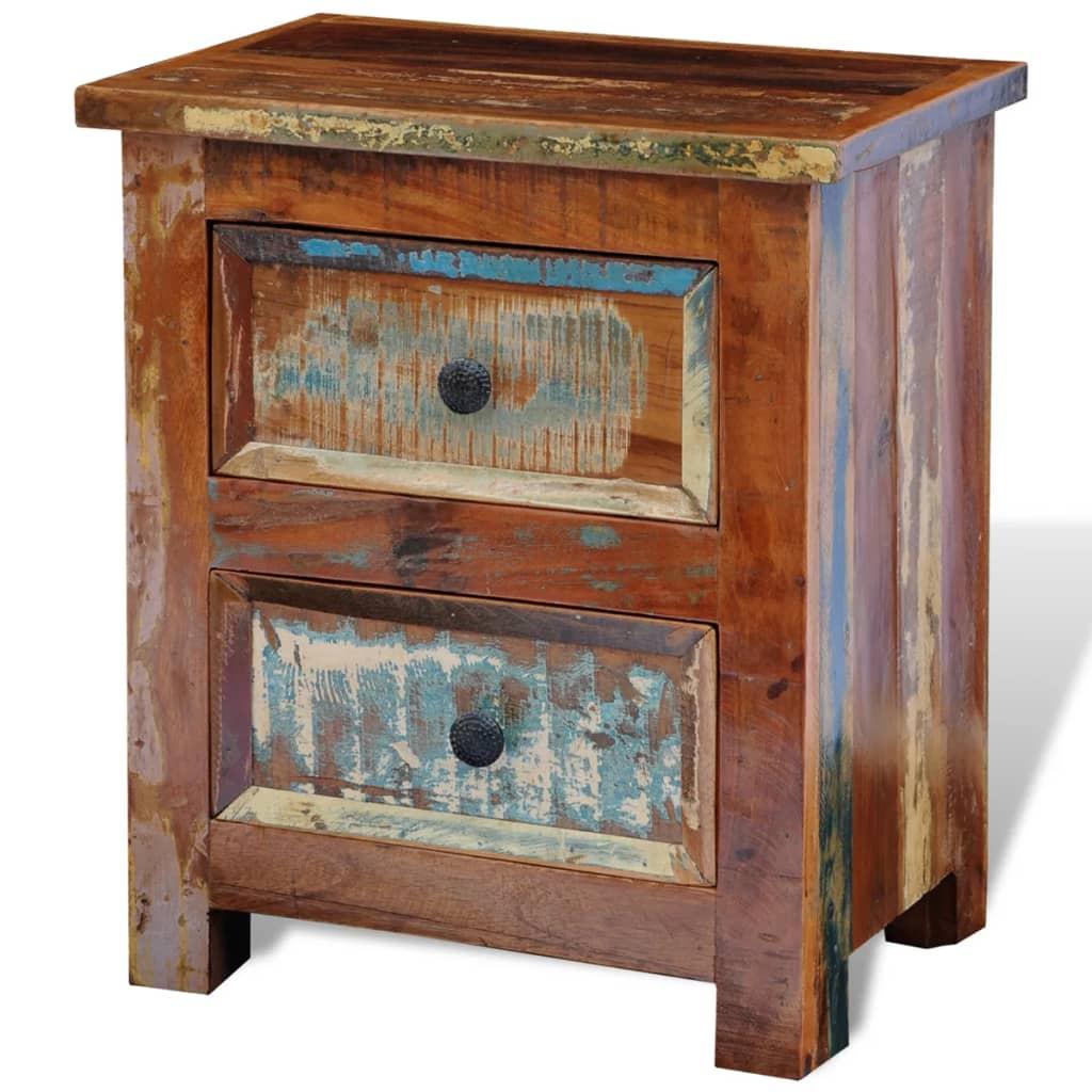 Noční stolek z recyklovaného masivního dřeva, s 2 zásuvkami