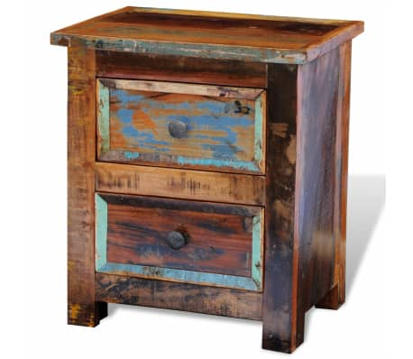 vidaXL Nightstand with 2 Drawers Solid Reclaimed Wood[4/11]