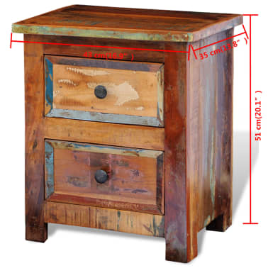 vidaXL Nightstand with 2 Drawers Solid Reclaimed Wood[11/11]