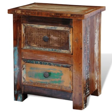 vidaXL Nightstand with 2 Drawers Solid Reclaimed Wood[5/11]