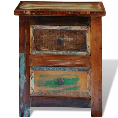 vidaXL Nightstand with 2 Drawers Solid Reclaimed Wood[6/11]