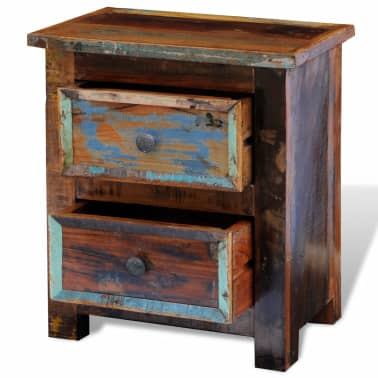 vidaXL Nightstand with 2 Drawers Solid Reclaimed Wood[7/11]