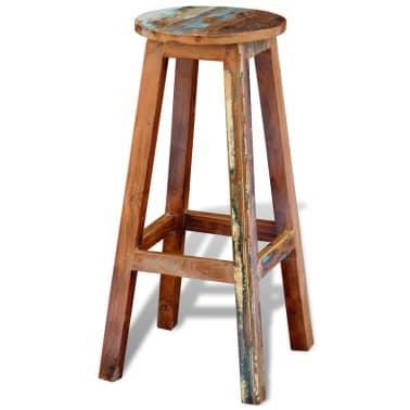 vidaXL Barska stolica od masivnog obnovljenog drva[2/8]