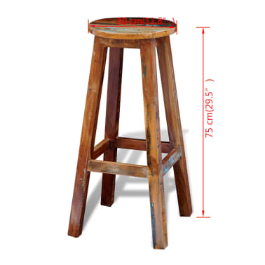 vidaXL Barska stolica od masivnog obnovljenog drva[8/8]
