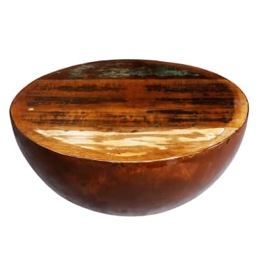 vidaXL Coffee Table Bowl-shaped with Steel Base Solid Reclaimed Wood[1/6]