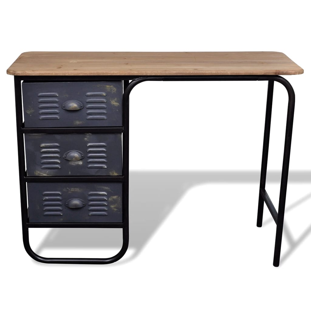Afbeelding van vidaXL Bureau/dressoir met drie lades hout antiek look