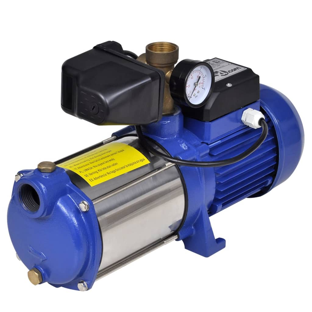 Pompă cu manometru 1300 W 5100 L/h Albastru poza 2021 vidaXL