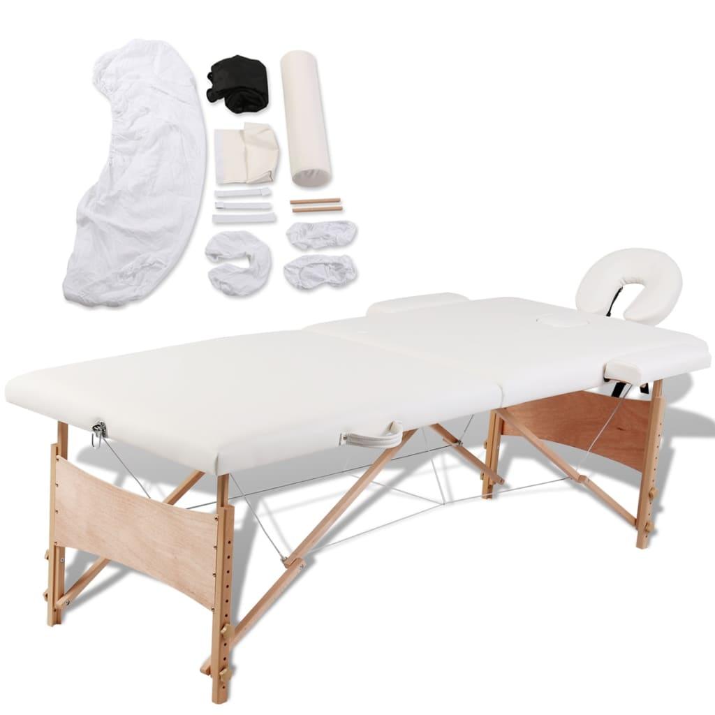 vidaXL Masă de masaj pliabilă 2 zone cadru de lemn + set accesorii poza vidaxl.ro