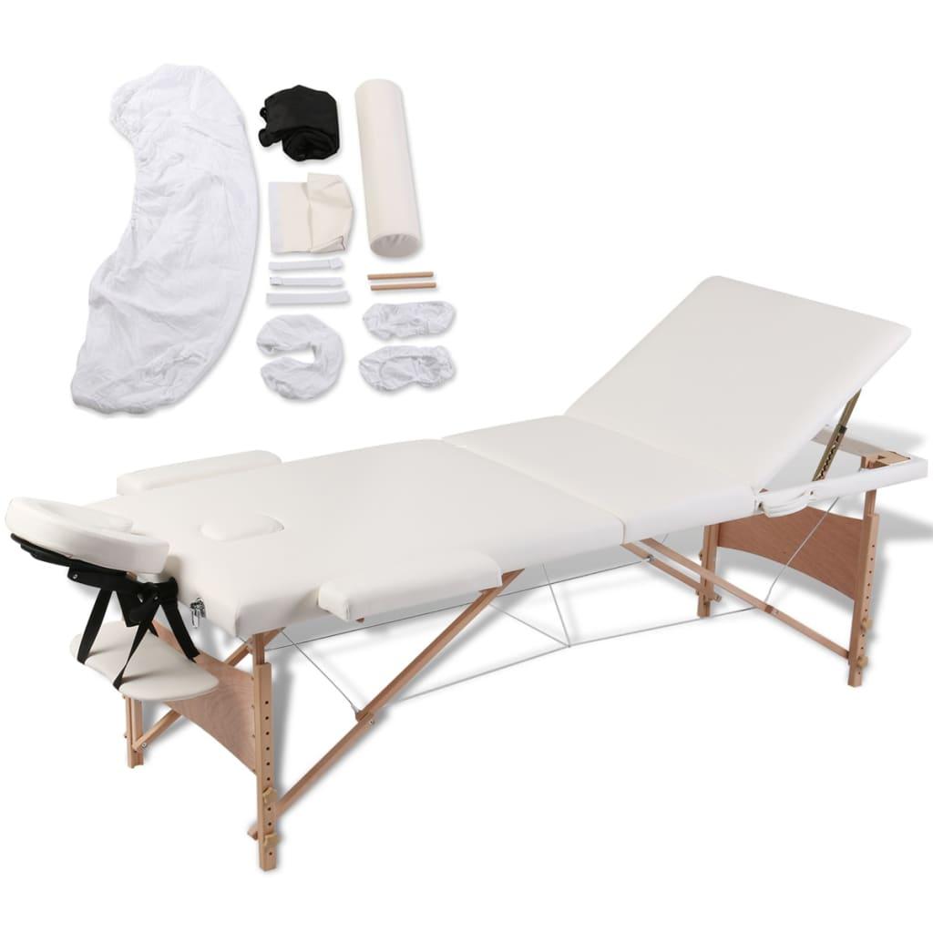 vidaXL Masă de masaj pliabilă 3 zone cadru de lemn + set accesorii vidaxl.ro