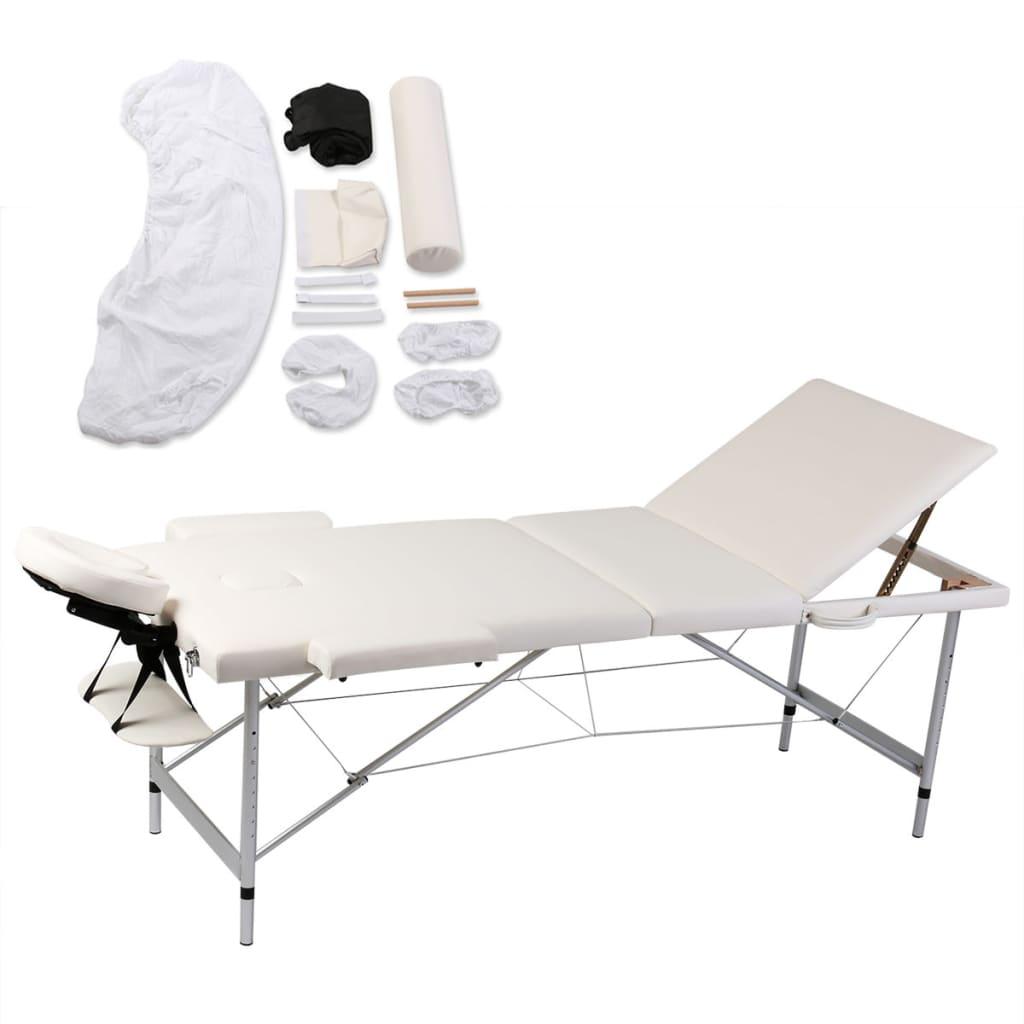 vidaXL Masă de masaj pliabilă 3 zone cadru aluminiu+set accesorii vidaxl.ro