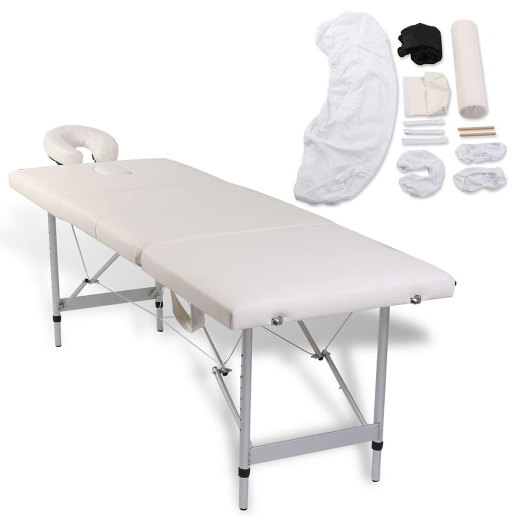 vidaXL Masă de masaj pliabilă 4 zone cadru aluminiu + set accesorii poza 2021 vidaXL