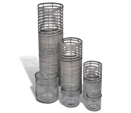 Grey 3 pcs Handmade Weaving Candle Holder[1/3]