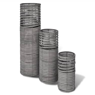 Grey 3 pcs Handmade Weaving Candle Holder[3/3]
