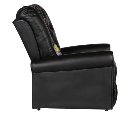 vidaXL Fotoliu de masaj electric, piele artificială, negru[4/9]