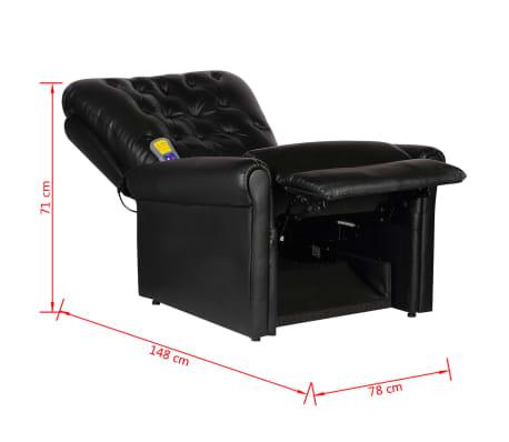 vidaXL Fotoliu de masaj electric, piele artificială, negru[9/9]