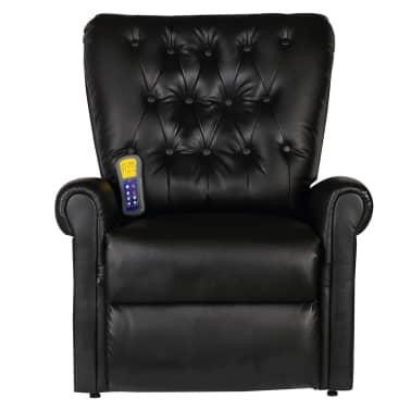 vidaXL Fotoliu de masaj electric, piele artificială, negru[2/9]