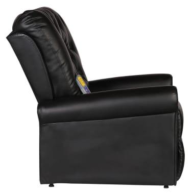 vidaXL Masažinis krėslas, elektrinis, dirbt. oda, reguliuojamas, juodas[4/9]