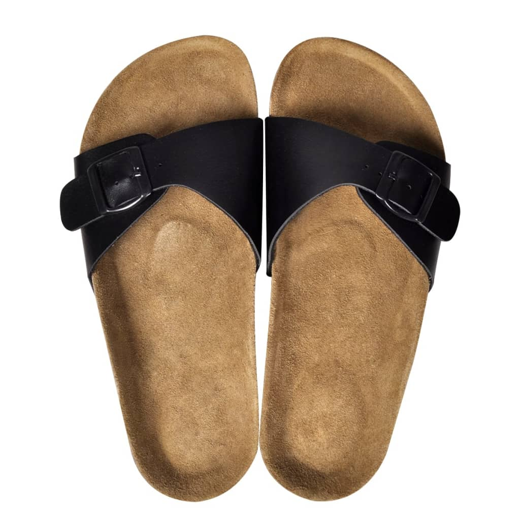 999130450 Schwarze Unisex Biokork-Sandale mit Schnalle Größe 38