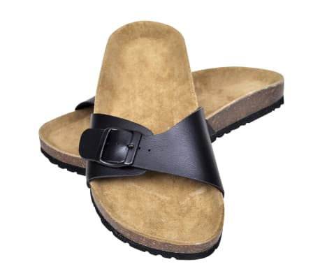 Čierne unisex korkové sandále, s jedným popruhom s prackou, č. 39[1/6]