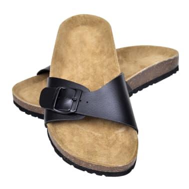 Svart unisex kork sandal med 1 spännrem storlek 39[1/6]