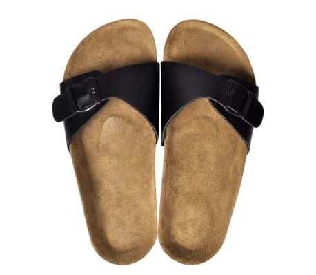Čierne unisex korkové sandále, s jedným popruhom s prackou, č. 39[2/6]