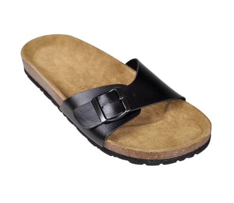 Čierne unisex korkové sandále, s jedným popruhom s prackou, č. 39[3/6]