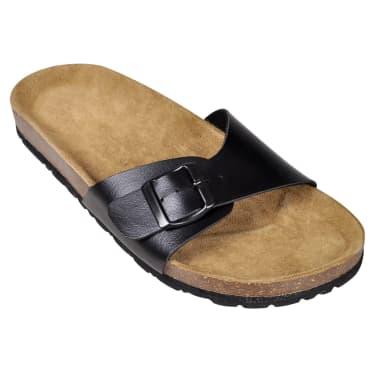 Svart unisex kork sandal med 1 spännrem storlek 39[3/6]
