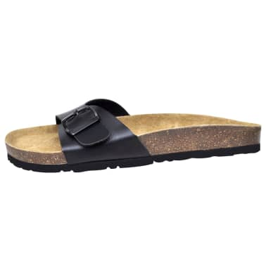 Čierne unisex korkové sandále, s jedným popruhom s prackou, č. 39[4/6]