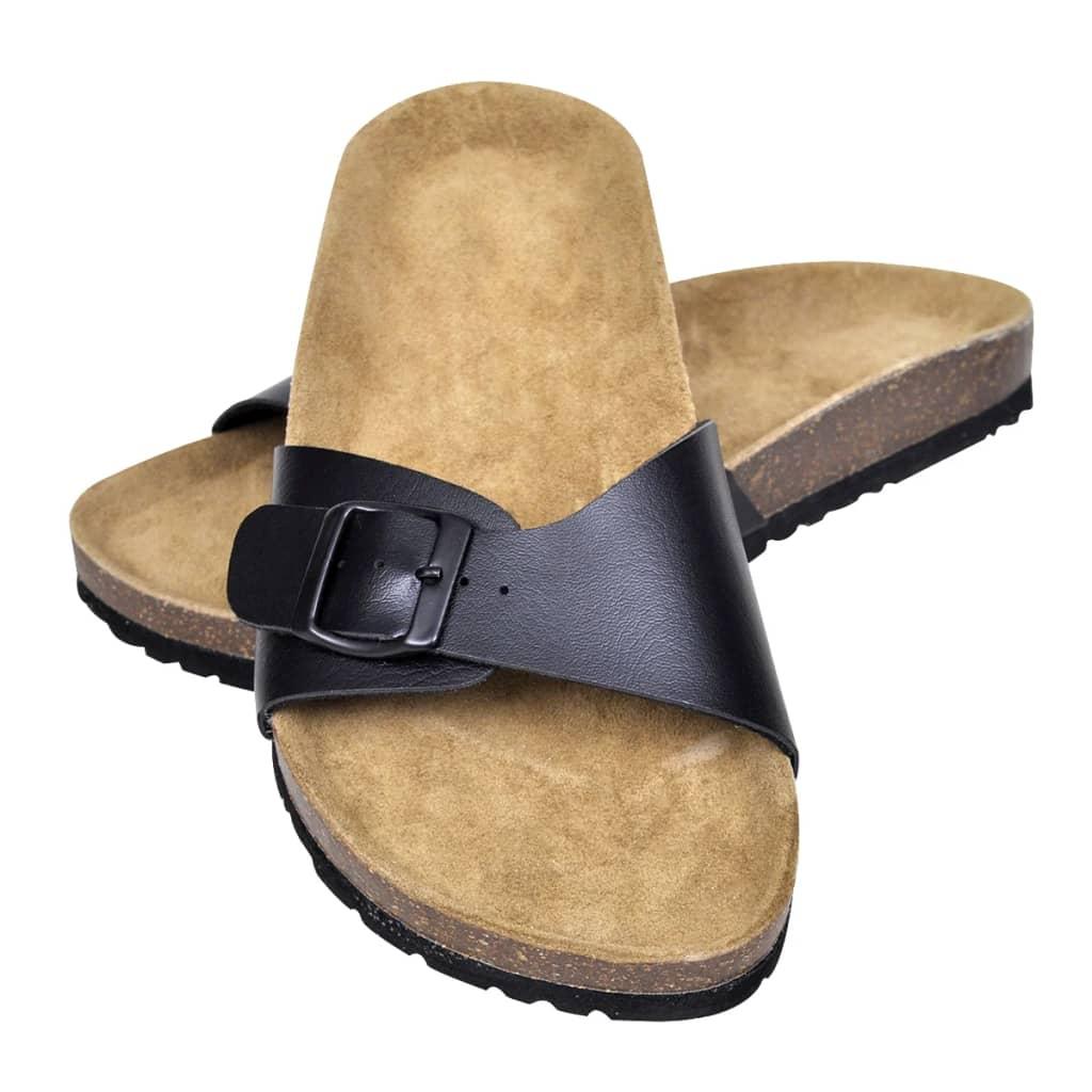 999130453 Schwarze Unisex Biokork-Sandale mit Schnalle Größe 41