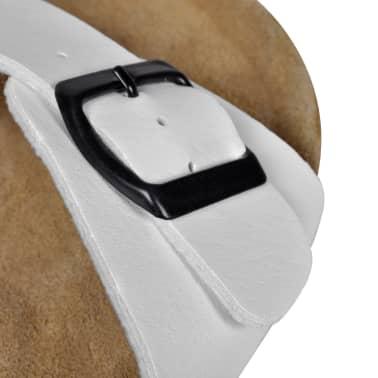 Balti Unisex Bio Sandalai Kamštiniu Padu su 1 Dirželiu ir Sagtimi, 36[5/6]