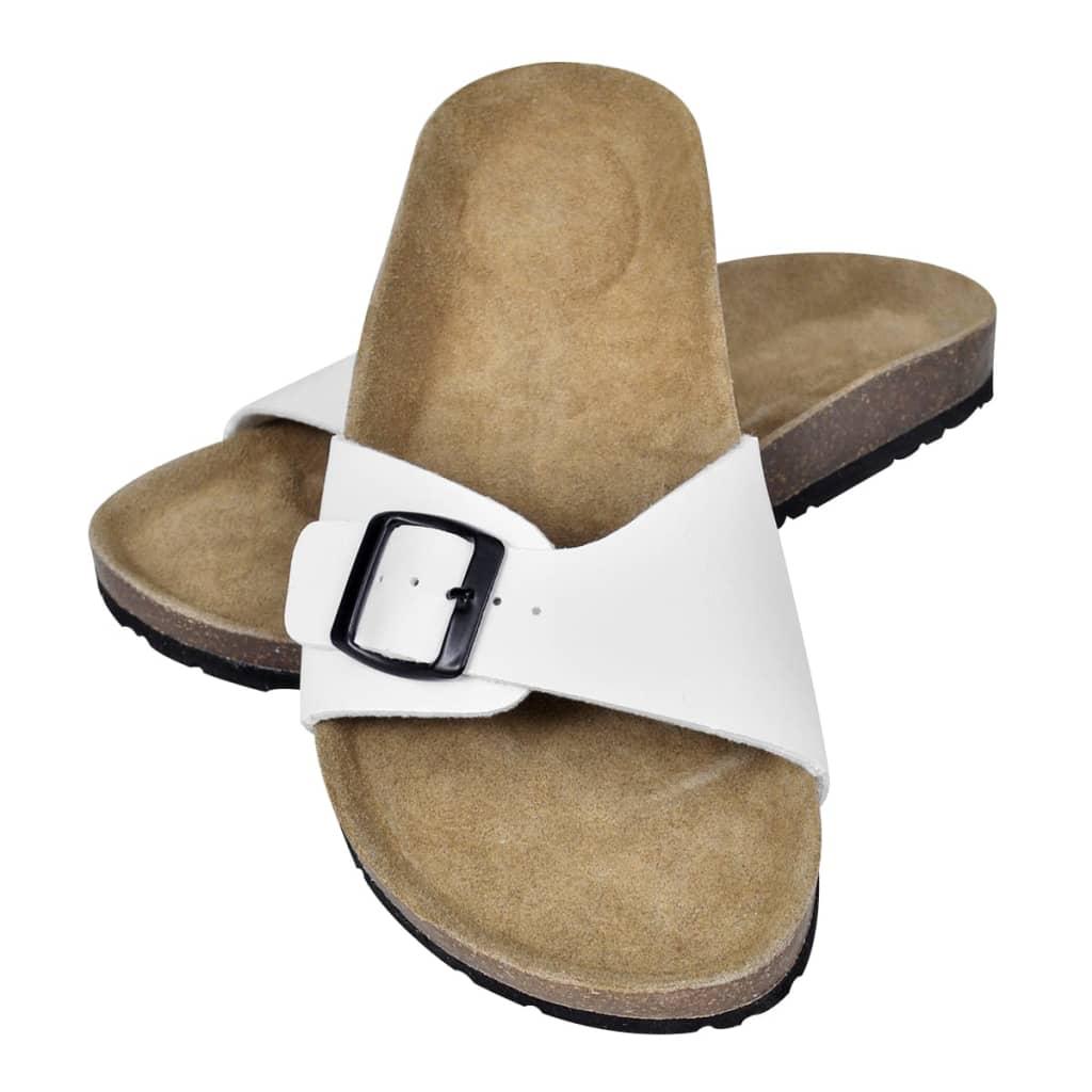 99130455 Weiße Unisex Biokork-Sandale mit Schnalle Größe 37