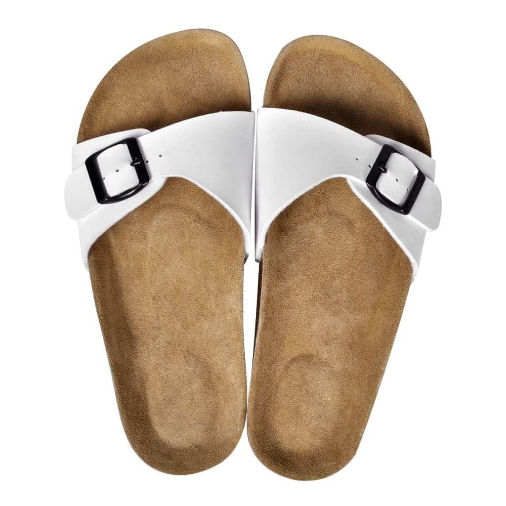 999130455 Weiße Unisex Biokork-Sandale mit Schnalle Größe 37