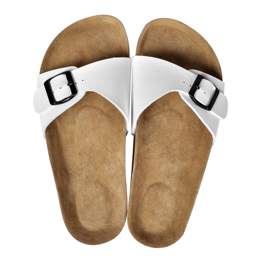 999130457 Weiße Unisex Biokork-Sandale mit Schnalle Größe 39