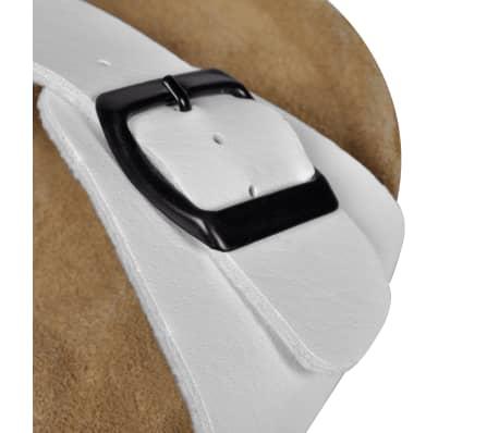 Balti Unisex Bio Sandalai Kamštiniu Padu su 1 Dirželiu ir Sagtimi, 39[5/6]