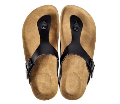 Svart Unisex Bio Sandaler med Korksåle Flip-Flops Design 38[2/6]