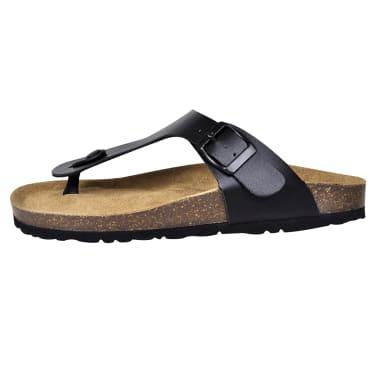 Svart Unisex Bio Sandaler med Korksåle Flip-Flops Design 38[4/6]