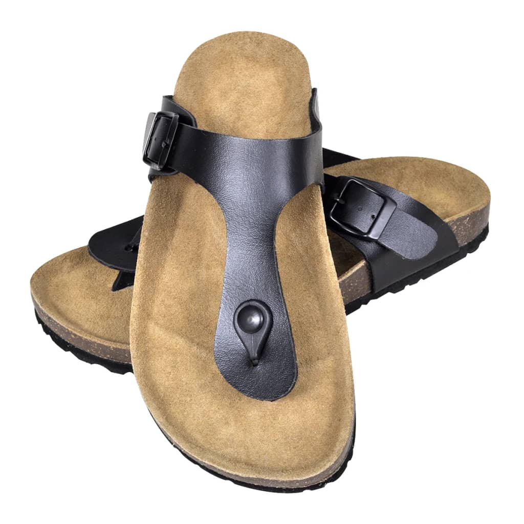 99130463 Schwarze Unisex Biokork-Sandale im Flip Flop-Design Größe 39