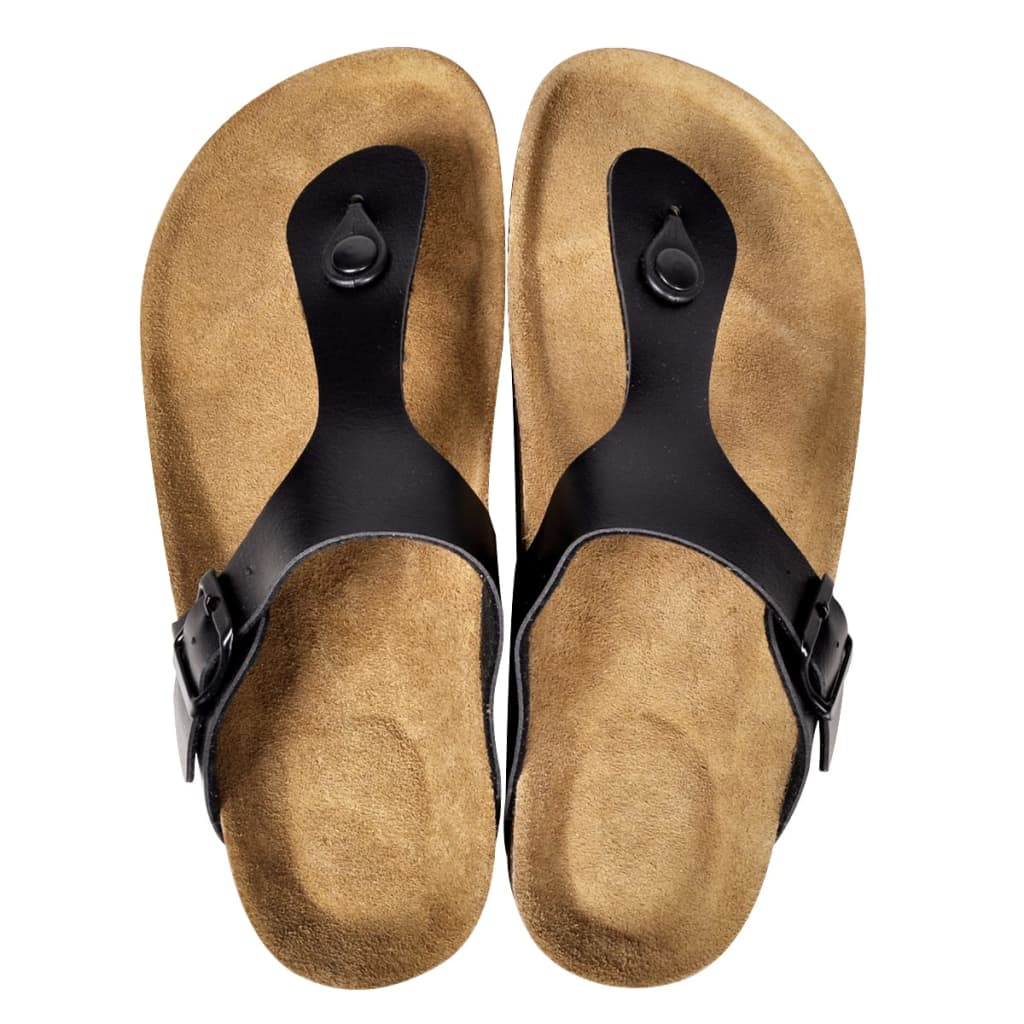 999130463 Schwarze Unisex Biokork-Sandale im Flip Flop-Design Größe 39