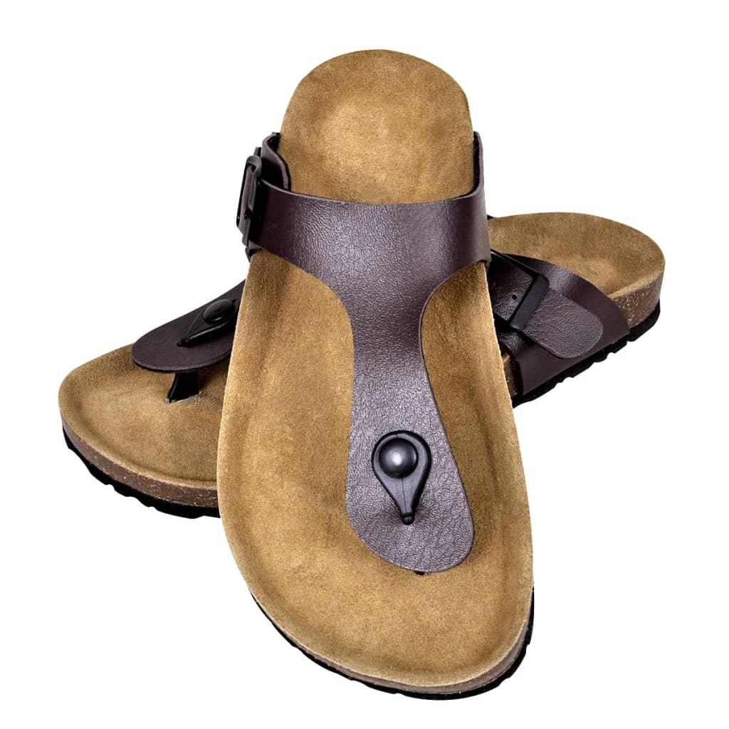 99130467 Braune Unisex Biokork-Sandale im Flip Flop-Design Größe 37