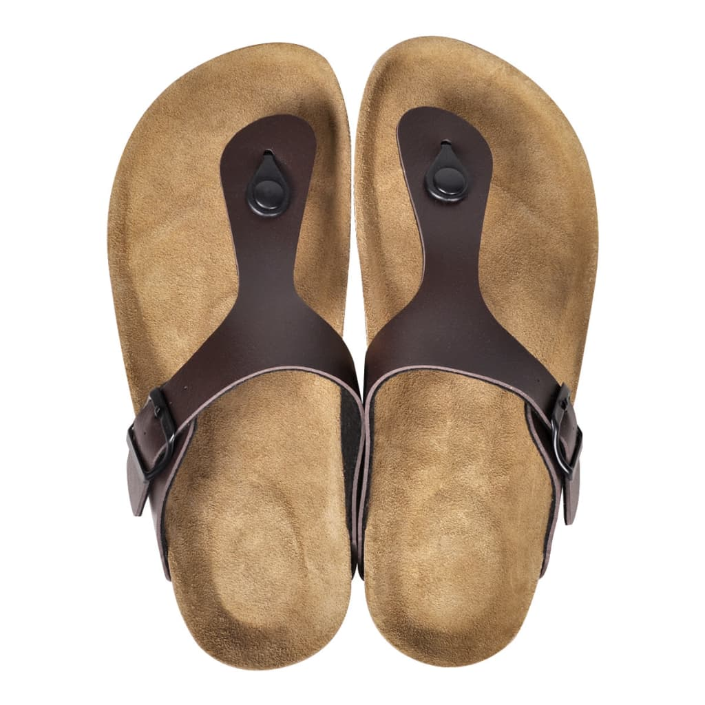 vidaXL Dámské bio korkové sandály design žabky hnědé velikost 39