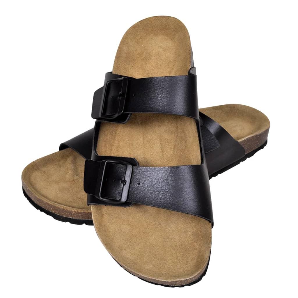 99130476 Schwarze Unisex Biokork-Sandale mit 2 Schnallen Größe 44