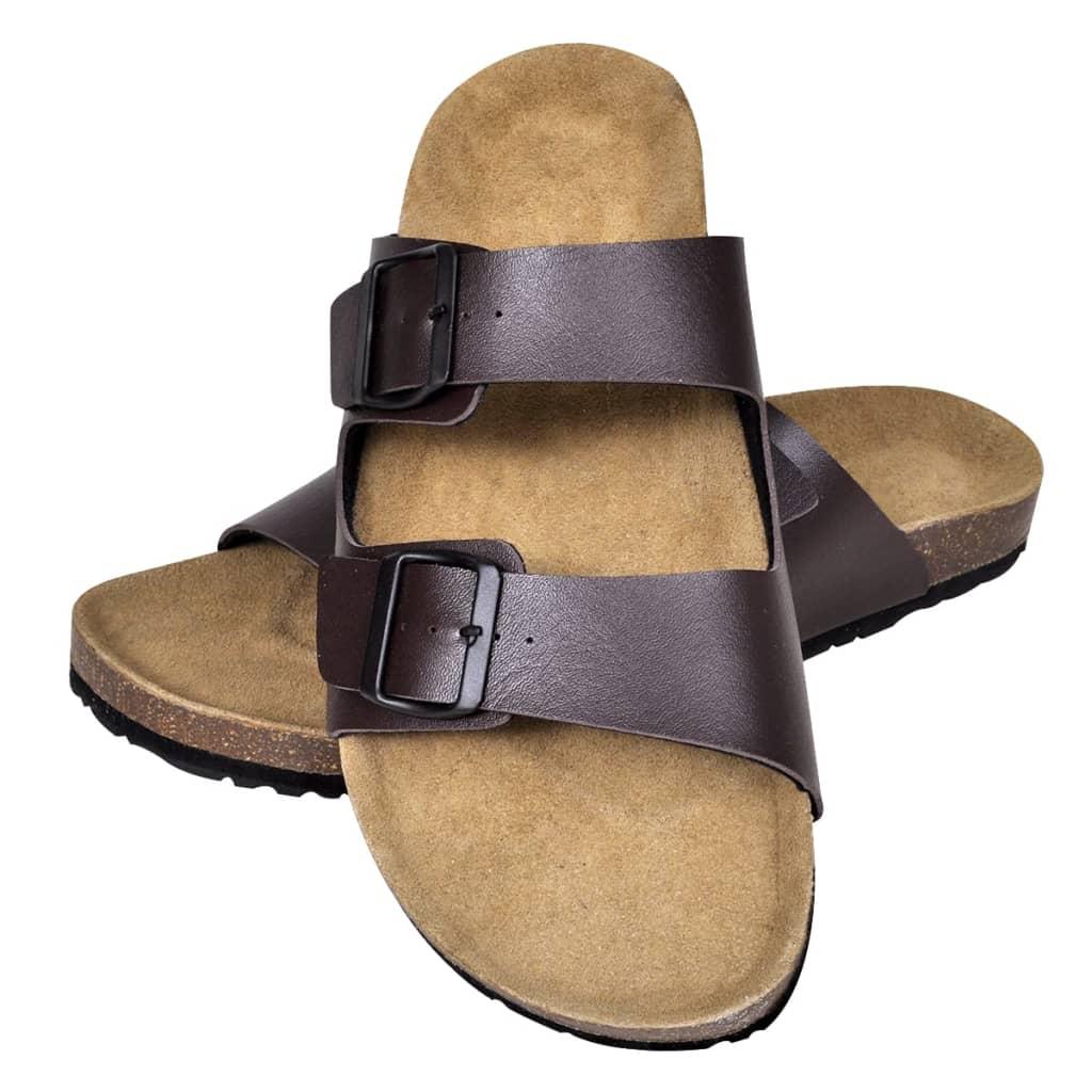 99130478 Braune Unisex Biokork-Sandale mit 2 Schnallen Größe 41