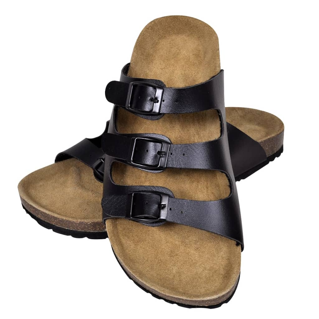 99130484 Schwarze Unisex Biokork-Sandale mit 3 Schnallen Größe 38