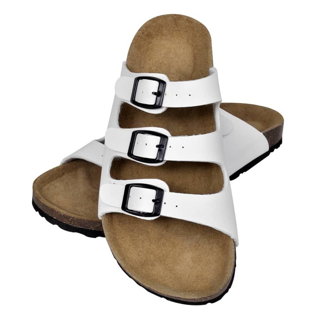 vidaXL Sandale femei plută bio 3 curele cu cataramă alb mărime 40 vidaxl.ro