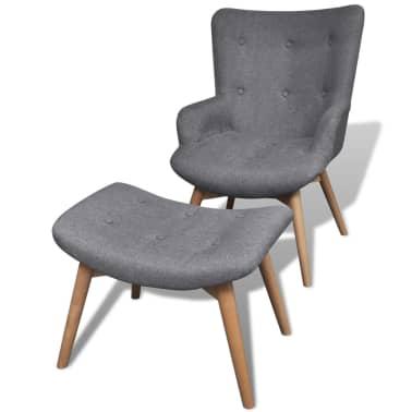 vidaXL Armchair with Footstool Grey Fabric[1/7]