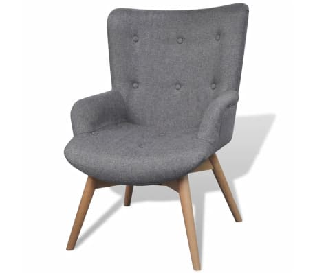 vidaXL Armchair with Footstool Grey Fabric[2/7]