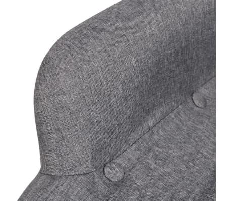vidaXL Armchair with Footstool Grey Fabric[3/7]