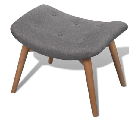 vidaXL Armchair with Footstool Grey Fabric[4/7]